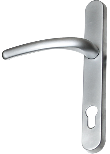 Brushed chrome traditional door handle from shaws