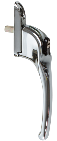 Traditional bright chrome cranked handle from shaws