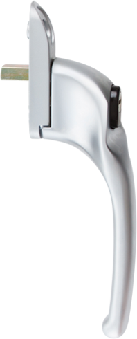 Traditional brushed chrome cranked handle from shaws