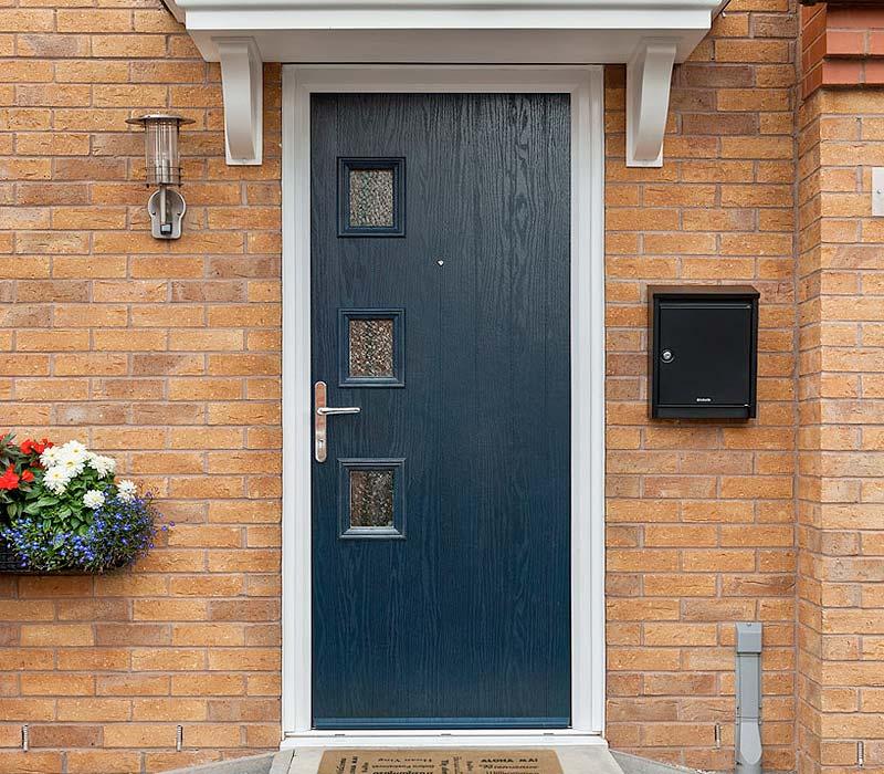 Black door stop composite door