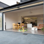 Origin bi fold door open kitchen to patio