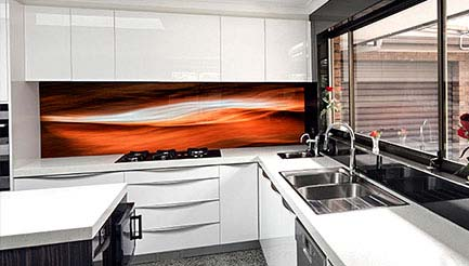 Graphic print splashbacks