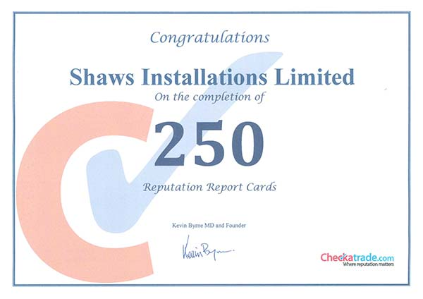 Checkatrade Certificate Shaws of Brighton