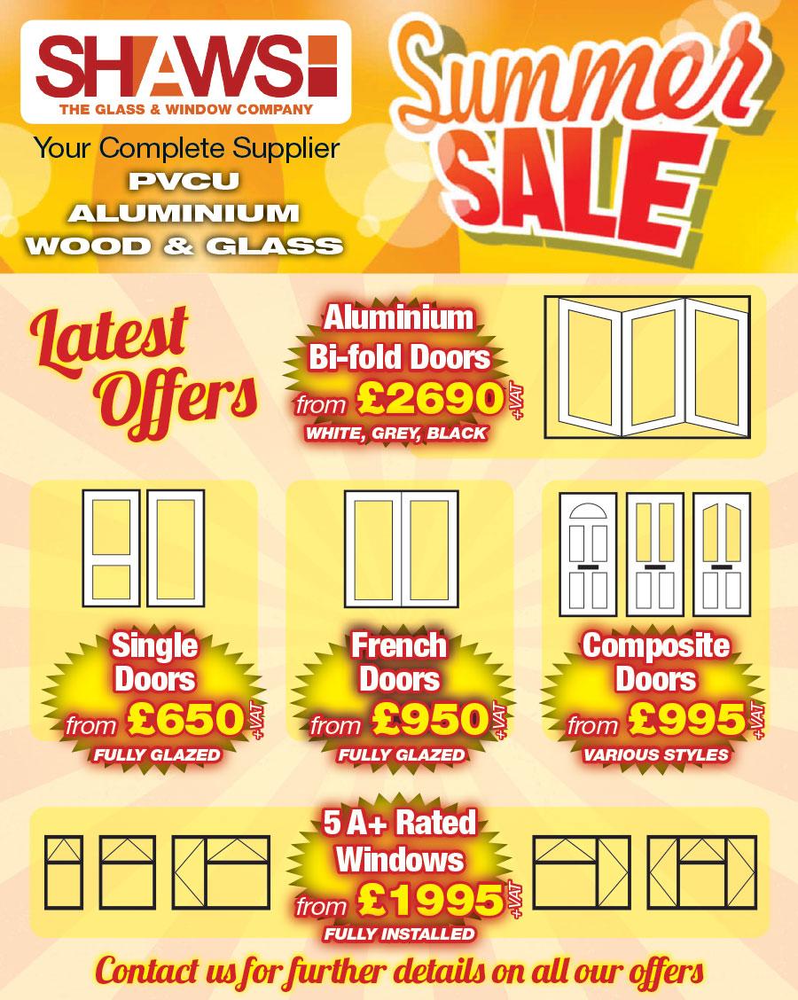 Shaws window door summer sale