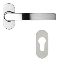 Solid stainless steel handle with separate escutcheon 253 280 for residence doors and windows