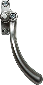 Brushed chrome tear drop handle for residence doors and windows