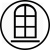 Church window icon black with clear background png format
