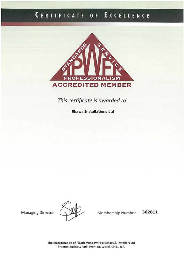 Shaws installations ipwfi cert