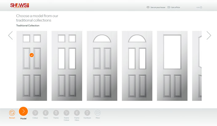 Screenshot of the shaws appear door designer